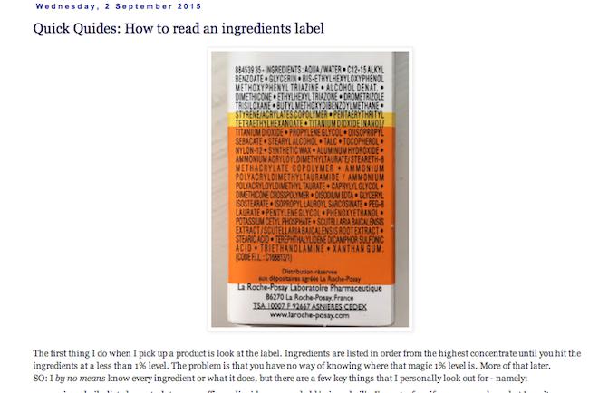caroline hirons ingredients labels
